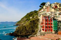 The village binds with the sea. April 2015. - Riomaggiore, Italy